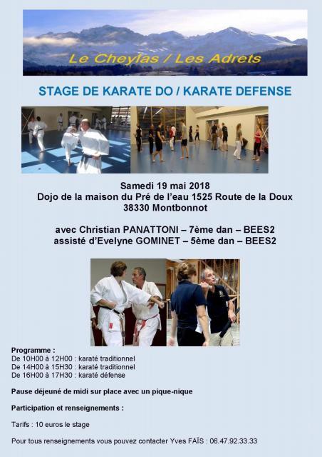 Affiche stage christian panattoni les adrets le cheylas mai 2018